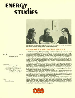 Primary view of object titled 'Energy Studies, Volume 1, Number 4, February 1976'.