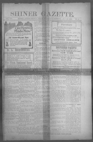 Primary view of object titled 'Shiner Gazette. (Shiner, Tex.), Vol. 13, No. 3, Ed. 1, Wednesday, July 26, 1905'.