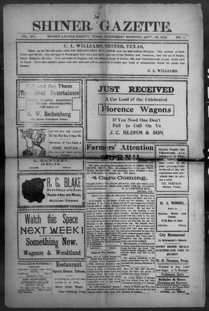 Primary view of object titled 'Shiner Gazette. (Shiner, Tex.), Vol. 14, No. 11, Ed. 1, Wednesday, September 26, 1906'.