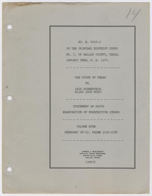 Cause Number E. 4010-J. Examination of Prospective Jurors: Volume 9, February 1964