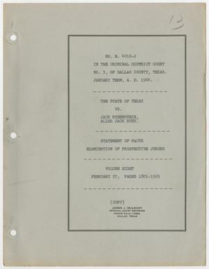 Cause Number E. 4010-J. Examination of Prospective Jurors: Volume 8, February 1964