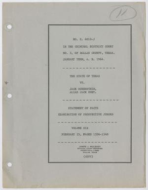 Cause Number E. 4010-J. Examination of Prospective Jurors: Volume 6, February 1964