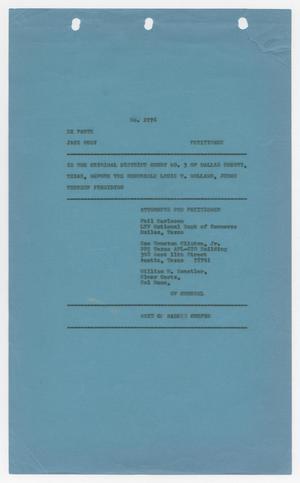 Cause Number 2076. Proceedings on Writ of Habeas Corpus, 1965-1966