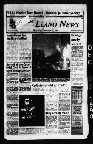 The Llano News (Llano, Tex.), Vol. 111, No. 8, Ed. 1 Thursday, December 3, 1998