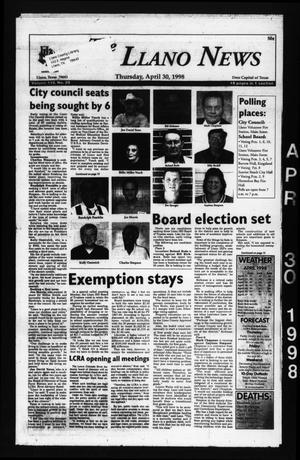 The Llano News (Llano, Tex.), Vol. 110, No. 29, Ed. 1 Thursday, April 30, 1998
