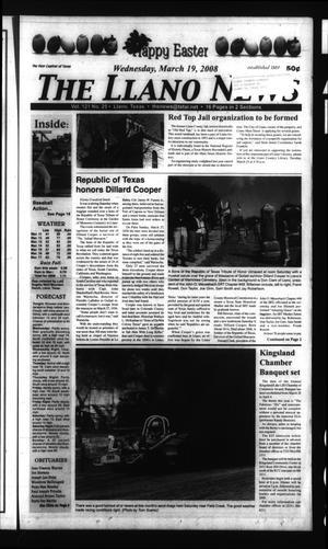 The Llano News (Llano, Tex.), Vol. 121, No. 25, Ed. 1 Wednesday, March 19, 2008