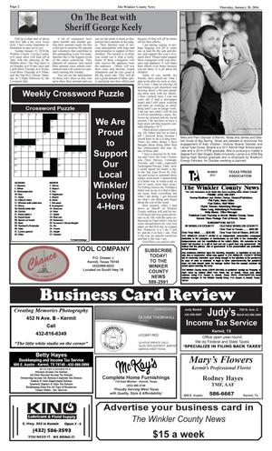 The Winkler County News (Kermit, Tex.), Vol. 81, No. 2, Ed. 1 Thursday, January 28, 2016
