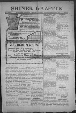 Primary view of object titled 'Shiner Gazette. (Shiner, Tex.), Vol. 18, No. 20, Ed. 1, Thursday, January 5, 1911'.