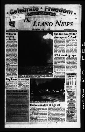 Primary view of The Llano News (Llano, Tex.), Vol. 110, No. 38, Ed. 1 Thursday, July 2, 1998