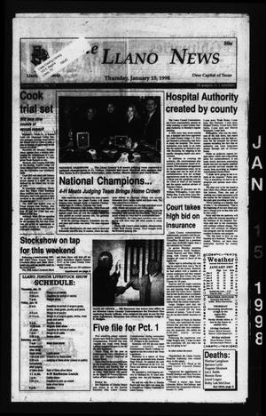 Primary view of The Llano News (Llano, Tex.), Vol. 110, No. 14, Ed. 1 Thursday, January 15, 1998