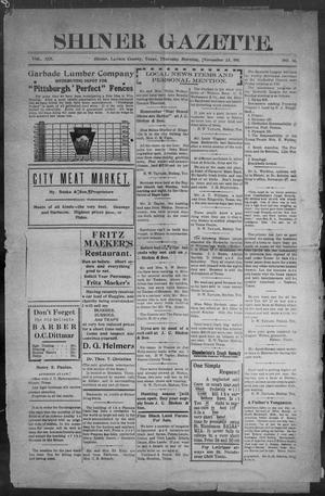 Primary view of object titled 'Shiner Gazette. (Shiner, Tex.), Vol. 19, No. 14, Ed. 1, Thursday, November 23, 1911'.