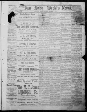 Primary view of object titled 'The San Saba Weekly News. (San Saba, Tex.), Vol. 12, No. 3, Ed. 1, Saturday, October 24, 1885'.