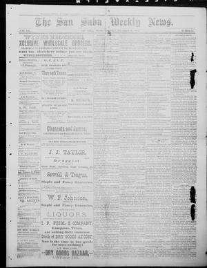 Primary view of object titled 'The San Saba Weekly News. (San Saba, Tex.), Vol. 12, No. 11, Ed. 1, Saturday, December 19, 1885'.