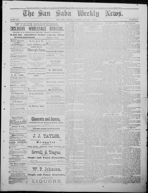 Primary view of object titled 'The San Saba Weekly News. (San Saba, Tex.), Vol. 12, No. 12, Ed. 1, Saturday, January 2, 1886'.