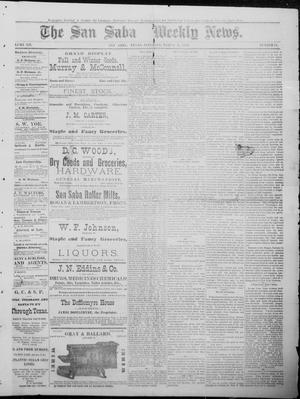 Primary view of object titled 'The San Saba Weekly News. (San Saba, Tex.), Vol. 12, No. 21, Ed. 1, Saturday, March 6, 1886'.