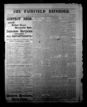 Primary view of object titled 'The Fairfield Recorder. (Fairfield, Tex.), Vol. 16, No. 13, Ed. 1 Friday, December 18, 1891'.