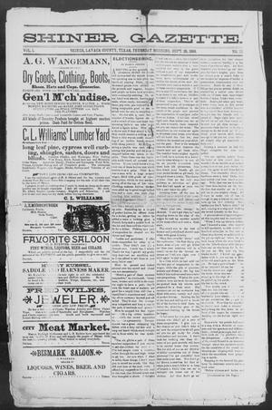 Primary view of object titled 'Shiner Gazette. (Shiner, Tex.), Vol. 1, No. 13, Ed. 1, Thursday, September 28, 1893'.