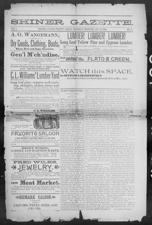 Primary view of object titled 'Shiner Gazette. (Shiner, Tex.), Vol. 1, No. 15, Ed. 1, Thursday, October 12, 1893'.