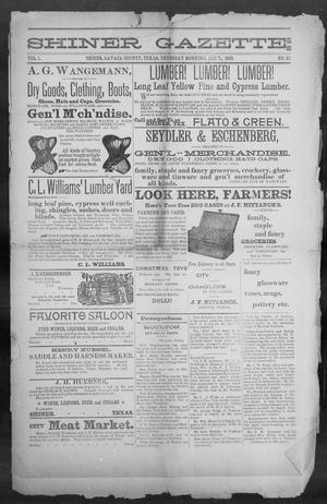 Primary view of object titled 'Shiner Gazette. (Shiner, Tex.), Vol. 1, No. 23, Ed. 1, Thursday, December 7, 1893'.