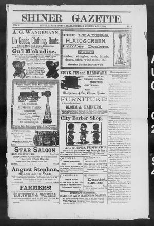 Primary view of object titled 'Shiner Gazette. (Shiner, Tex.), Vol. 2, No. 6, Ed. 1, Thursday, August 2, 1894'.