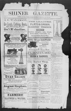 Primary view of object titled 'Shiner Gazette. (Shiner, Tex.), Vol. 2, No. 9, Ed. 1, Thursday, August 23, 1894'.