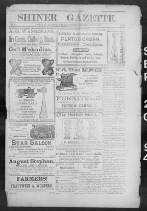 Primary view of object titled 'Shiner Gazette. (Shiner, Tex.), Vol. 2, No. 13, Ed. 1, Thursday, September 20, 1894'.
