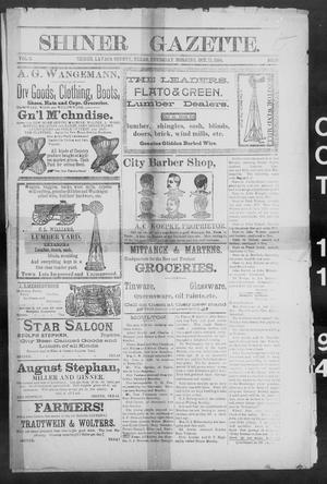 Primary view of object titled 'Shiner Gazette. (Shiner, Tex.), Vol. 2, No. 16, Ed. 1, Thursday, October 11, 1894'.