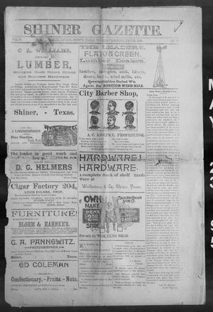 Primary view of object titled 'Shiner Gazette. (Shiner, Tex.), Vol. 3, No. 50, Ed. 1, Thursday, May 23, 1895'.