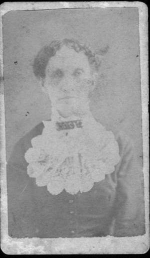 Primary view of object titled '[Portrait of an older woman wearing a dark dress with a large lace collar inset]'.