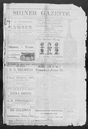 Primary view of object titled 'Shiner Gazette. (Shiner, Tex.), Vol. 3, No. 2, Ed. 1, Thursday, June 20, 1895'.
