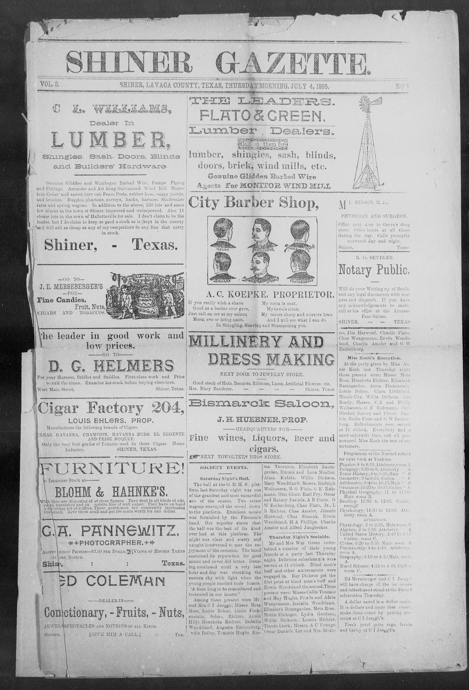 Shiner Gazette. (Shiner, Tex.), Vol. 3, No. 4, Ed. 1, Thursday, July 4, 1895                                                                                                      [Sequence #]: 1 of 8