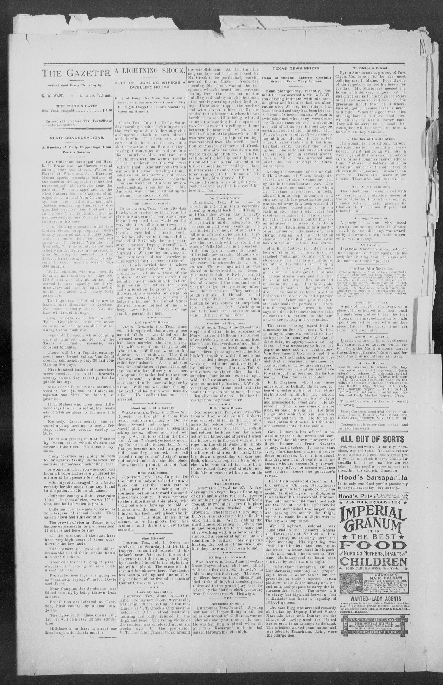 Shiner Gazette. (Shiner, Tex.), Vol. 3, No. 4, Ed. 1, Thursday, July 4, 1895                                                                                                      [Sequence #]: 6 of 8