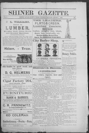 Shiner Gazette. (Shiner, Tex.), Vol. 3, No. 8, Ed. 1, Thursday, August 1, 1895