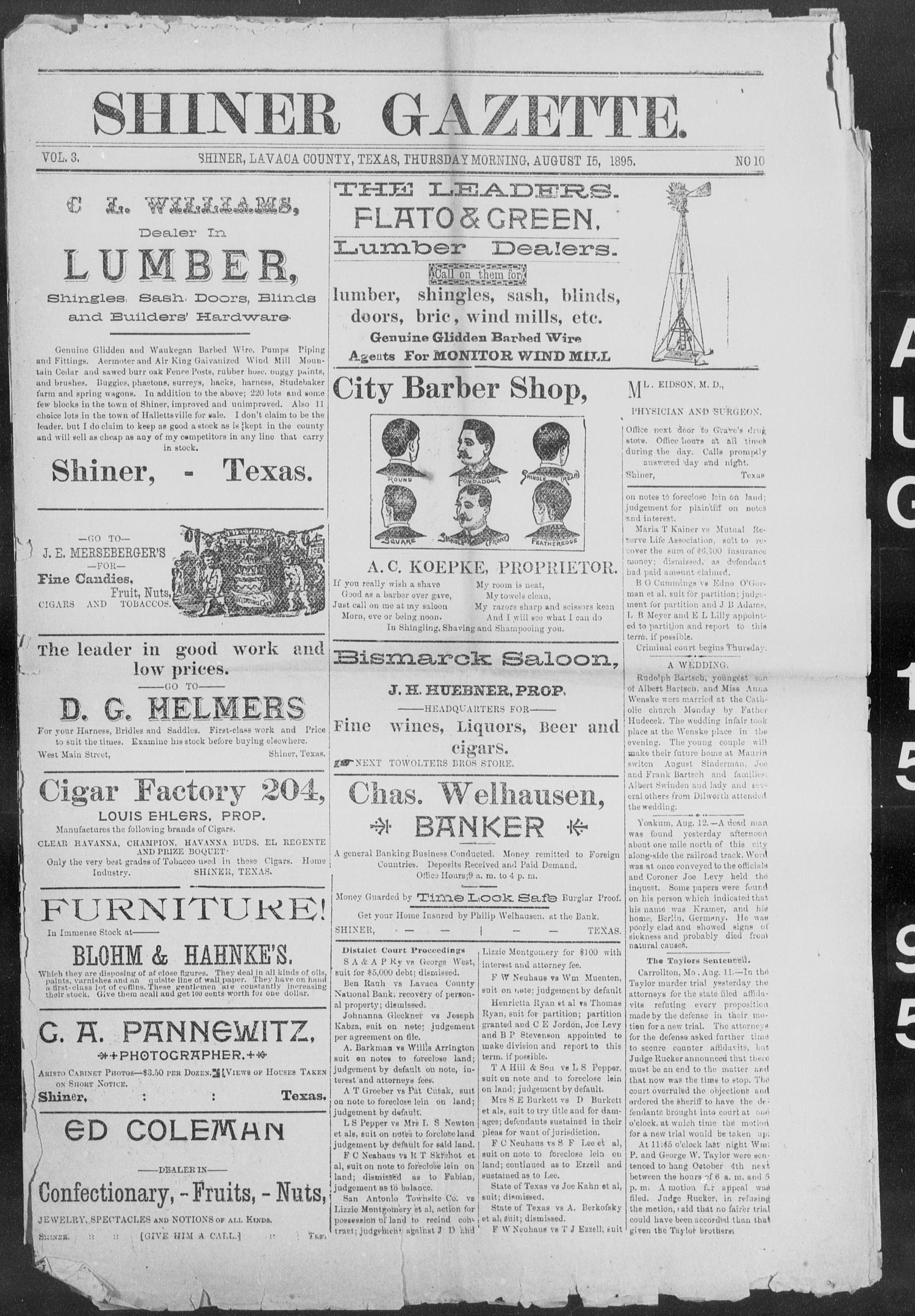Shiner Gazette. (Shiner, Tex.), Vol. 3, No. 10, Ed. 1, Thursday, August 15, 1895                                                                                                      [Sequence #]: 1 of 8