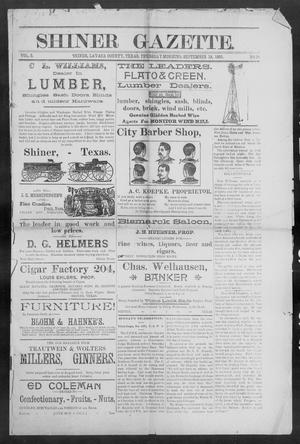 Primary view of object titled 'Shiner Gazette. (Shiner, Tex.), Vol. 3, No. 15, Ed. 1, Thursday, September 19, 1895'.