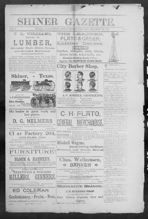 Primary view of object titled 'Shiner Gazette. (Shiner, Tex.), Vol. 3, No. 16, Ed. 1, Thursday, September 26, 1895'.
