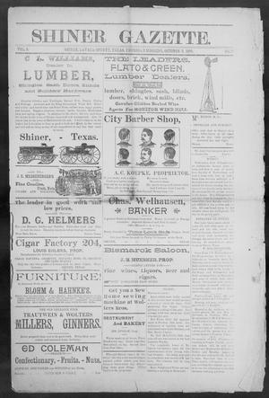 Primary view of object titled 'Shiner Gazette. (Shiner, Tex.), Vol. 3, No. 17, Ed. 1, Thursday, October 3, 1895'.