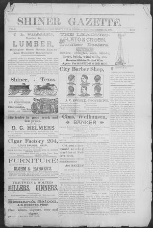 Primary view of object titled 'Shiner Gazette. (Shiner, Tex.), Vol. 3, No. 18, Ed. 1, Thursday, October 10, 1895'.