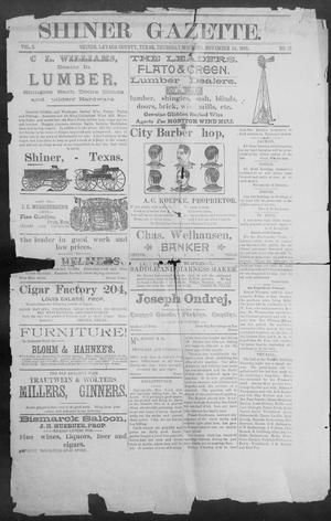 Primary view of object titled 'Shiner Gazette. (Shiner, Tex.), Vol. 3, No. 23, Ed. 1, Thursday, November 14, 1895'.