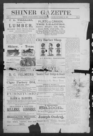 Primary view of object titled 'Shiner Gazette. (Shiner, Tex.), Vol. 3, No. 25, Ed. 1, Thursday, November 28, 1895'.