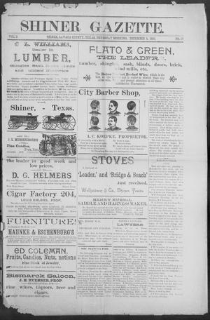 Primary view of object titled 'Shiner Gazette. (Shiner, Tex.), Vol. 3, No. 26, Ed. 1, Thursday, December 5, 1895'.