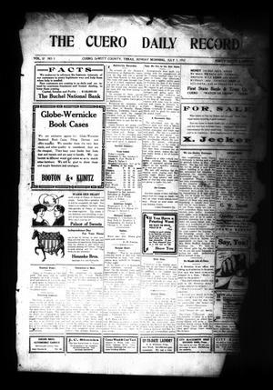 Primary view of object titled 'The Cuero Daily Record (Cuero, Tex.), Vol. 37, No. 5, Ed. 1 Sunday, July 7, 1912'.