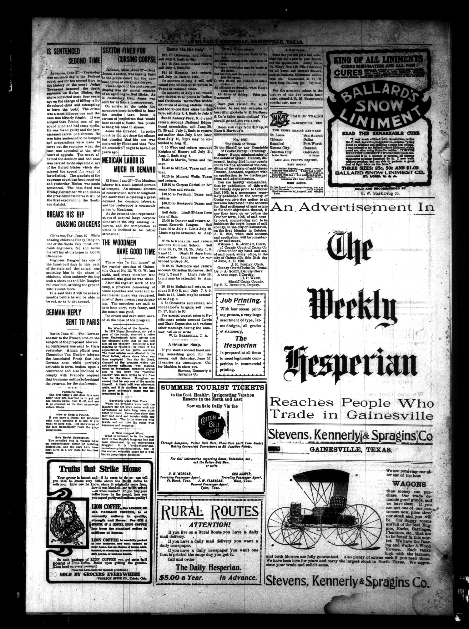 The Daily Hesperian (Gainesville, Tex.), Vol. 27, No. 90, Ed. 1 Wednesday, June 28, 1905                                                                                                      [Sequence #]: 4 of 4