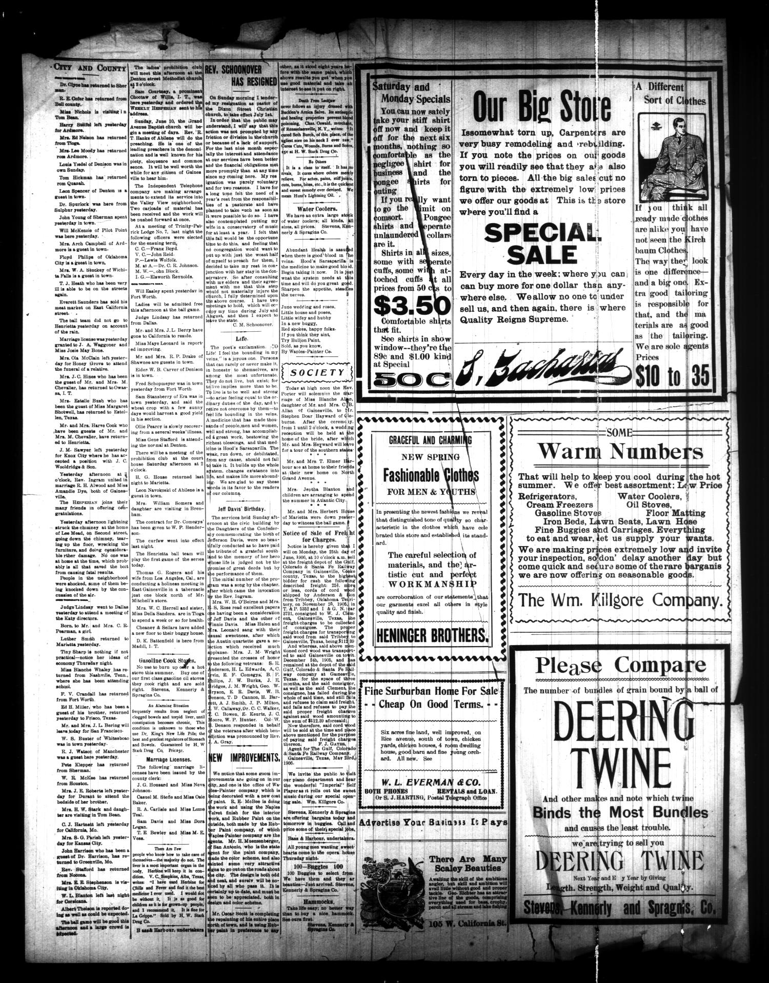 The Weekly Hesperian (Gainesville, Tex.), Vol. 37, No. 23, Ed. 1 Friday, June 8, 1906                                                                                                      [Sequence #]: 4 of 4
