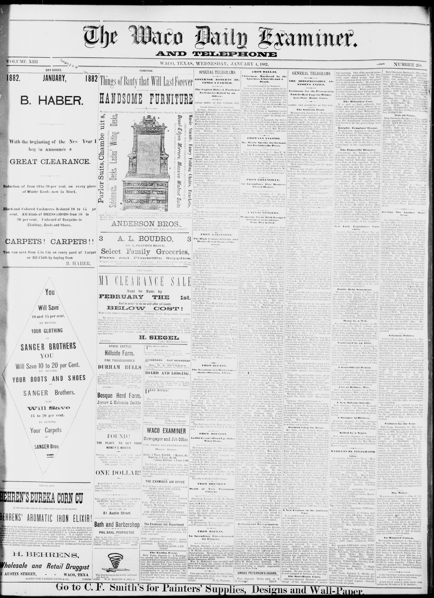 The Waco Daily Examiner. (Waco, Tex.), Vol. 13, No. 258, Ed. 1, Wednesday, January 4, 1882                                                                                                      [Sequence #]: 1 of 4