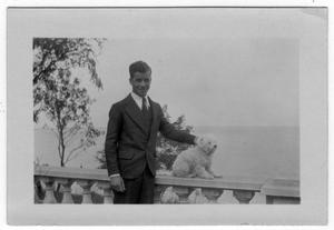 Primary view of object titled '[Robert Blackshear and Dog at Hampton Bay, Long Island, N.Y.]'.