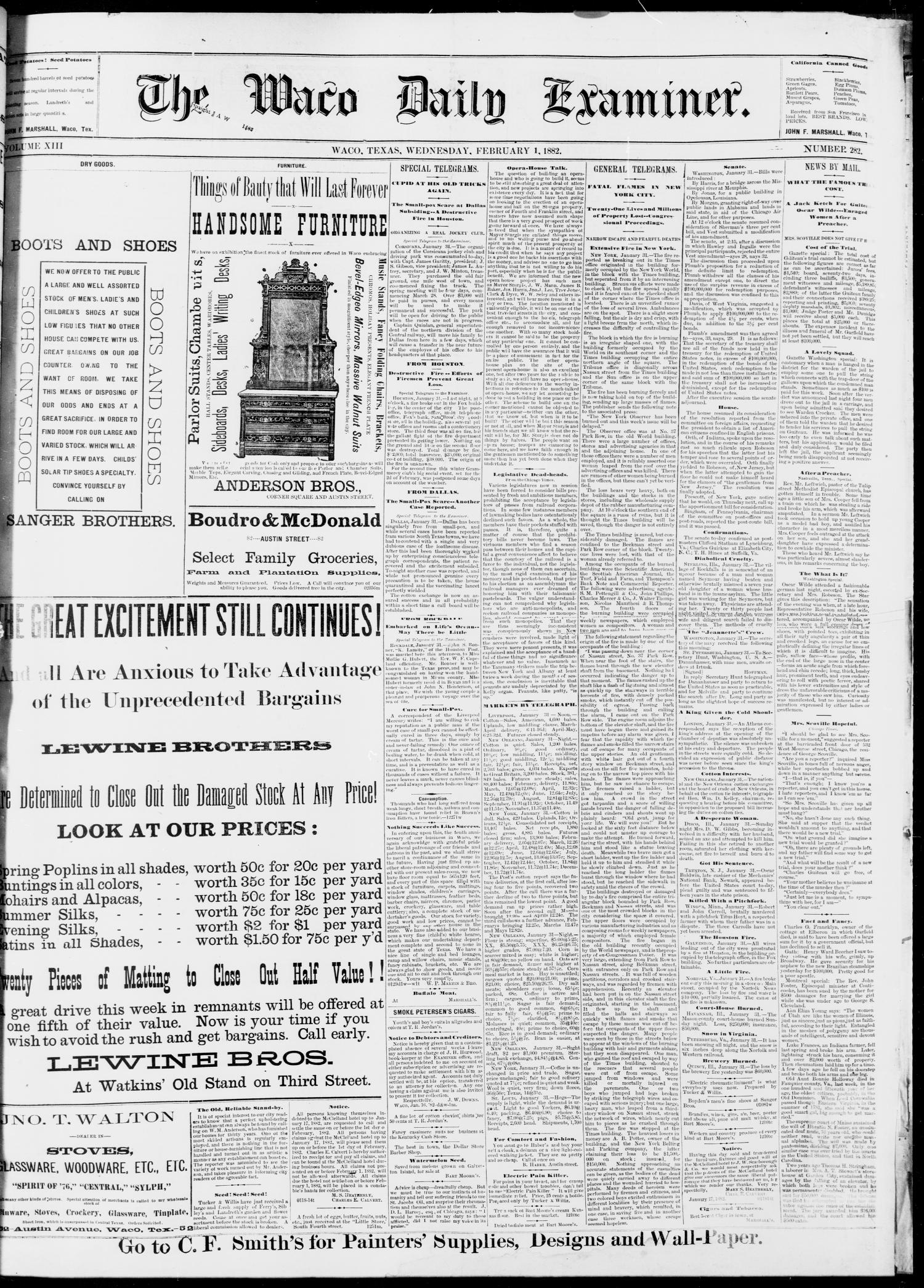 The Waco Daily Examiner. (Waco, Tex.), Vol. 13, No. 282, Ed. 1, Wednesday, February 1, 1882                                                                                                      [Sequence #]: 1 of 4