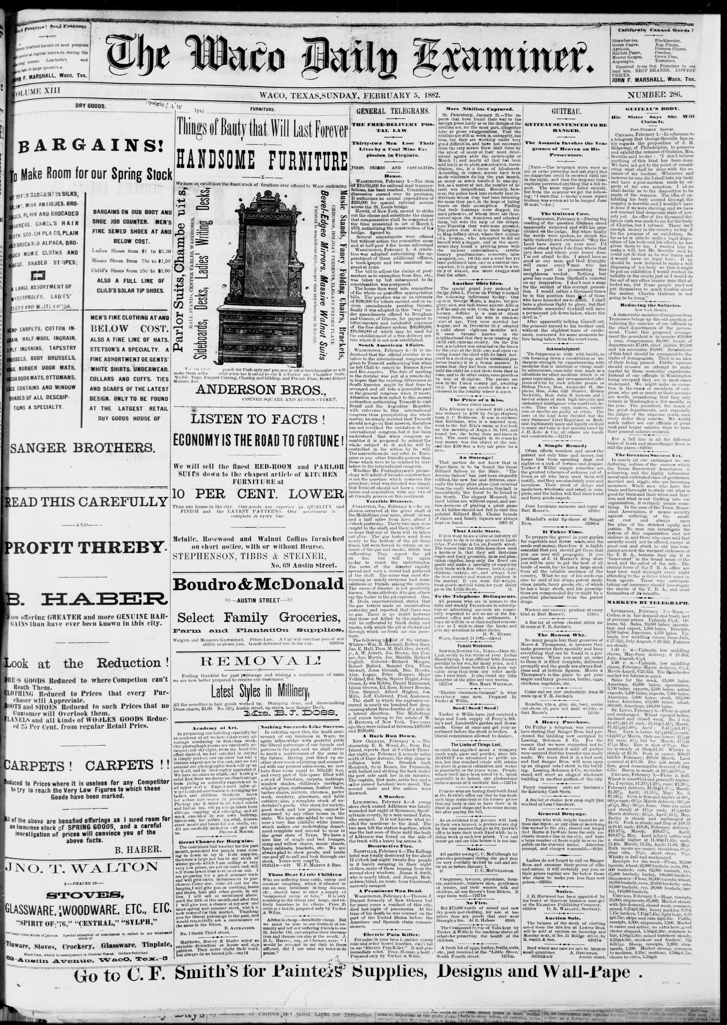 The Waco Daily Examiner. (Waco, Tex.), Vol. 13, No. 286, Ed. 1, Sunday, February 5, 1882                                                                                                      [Sequence #]: 1 of 4