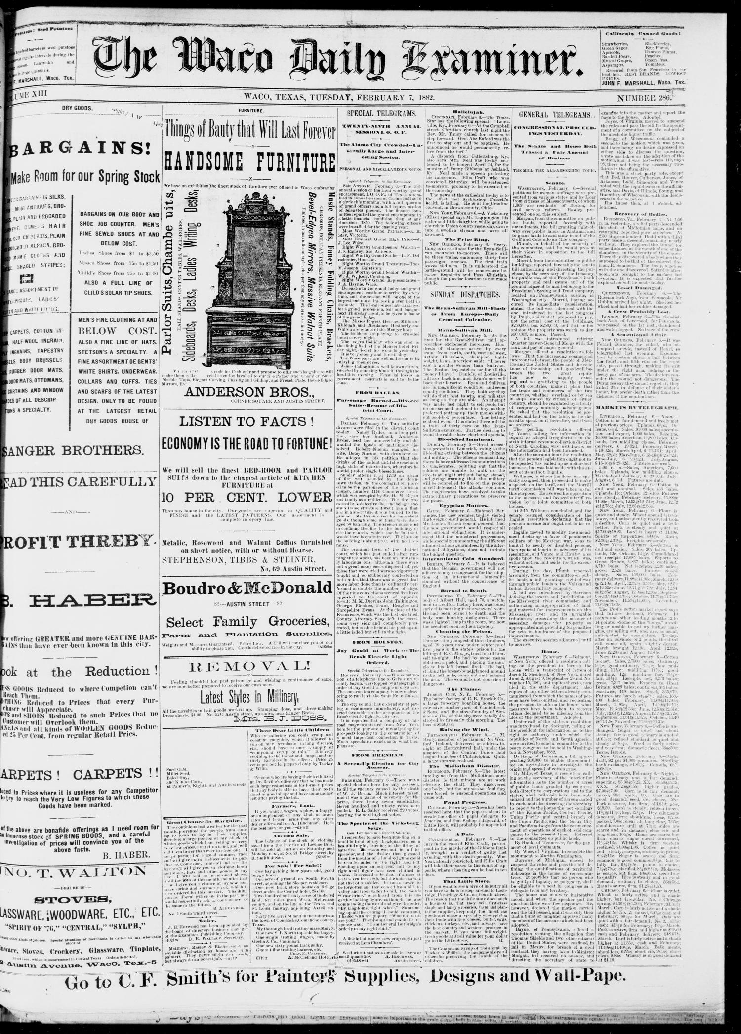 The Waco Daily Examiner. (Waco, Tex.), Vol. 13, No. 287, Ed. 1, Tuesday, February 7, 1882                                                                                                      [Sequence #]: 1 of 4
