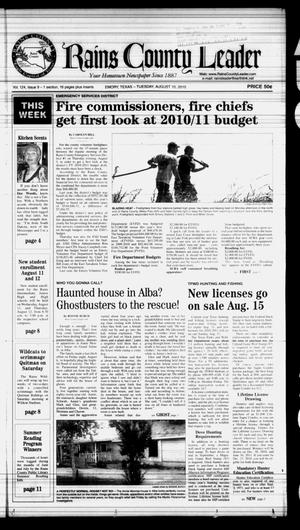 Rains County Leader (Emory, Tex.), Vol. 124, No. 9, Ed. 1 Tuesday, August 10, 2010